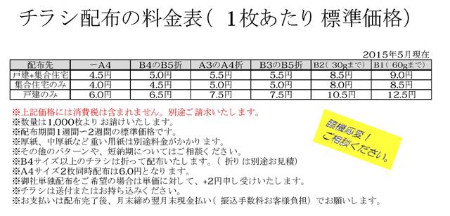 201505ポスティング価格表